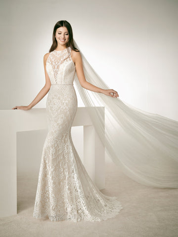 8 Lace Mermaid Wedding Dress Sheer high