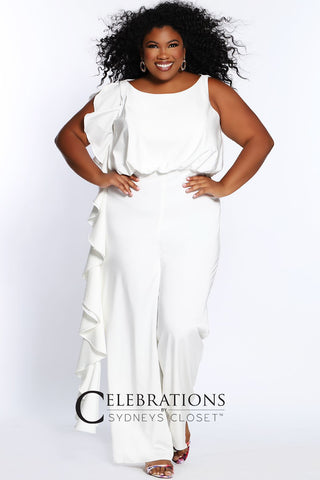 Sydney's Closet CE2014  Trendy plus size formal jumpsuit looks elegant at any special occasion whether you're a guest at a wedding, spending a night on the town or having brunch with family and friends. One-piece silhouette in rich French crepe fabric makes dressing up effortless.