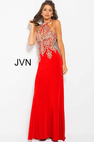 Jovani JVN33691 keyhole neckline prom dress sheer lace fitted evening gown