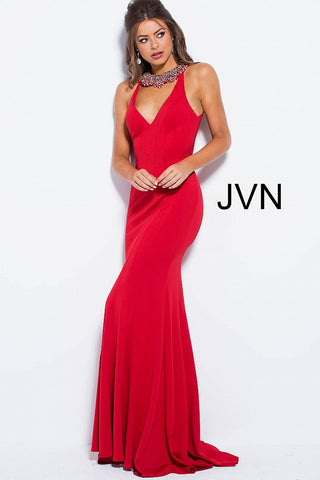 JVN by Jovani 53349 open back prom dress in stock in Red size 2