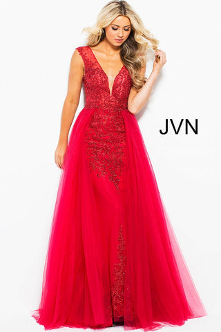 JVN by Jovani 41677 Embellished bodice column prom dress in Black/Gold, Blush/Nude, Charcoal/Nude, Lavender, Light Blue, Navy/Gold, Off White, Red/Red-