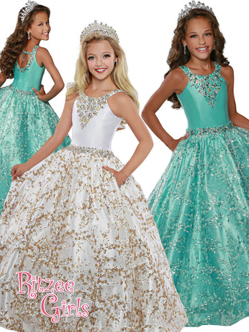 Ritzee 7915 Girls Pageant Dress Sequin Lace Ballgown Embellished High Neckline