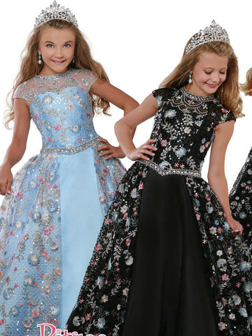 Ritzee 7917 Girls Pageant Dress Sheer Neckline Floral Applique Lace Sequin Embellished