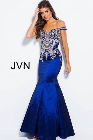 Jvn By Jovani 61193 Off The Shoulder Mermaid Prom Dress Size 2 Navy