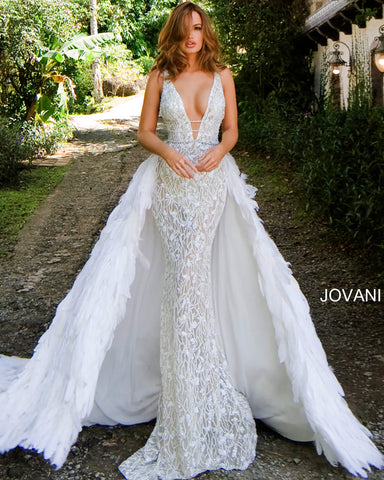 Jovani S62942 62942 Couture Feather Wedding Dress Pageant Gown Overskirt Over Skirt Bridal Train Glass Slipper Formals