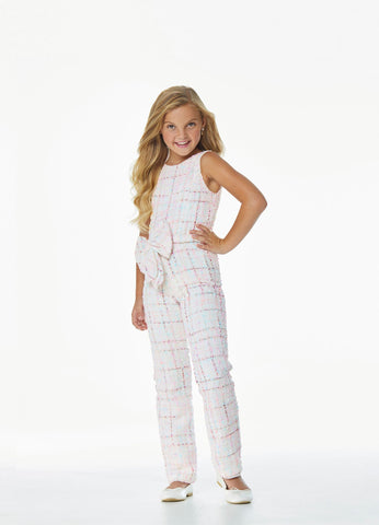 Ashley Lauren 8052 Girls and Preteen's high neckline tweed jumpsuit with bow detail at the waistline fun fashion pageant wear or party attire. Color Ivory   Sizes  4, 6, 8, 10, 12, 14