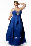 Sydneys Closet style SC7071  Look glamorous at any special occasion wearing our best-selling chiffon formal evening gown. Flattering Empire waistline. Butterfly bodice features soft pleats and spaghetti straps. Burst of rhinestones adds sparkle to your big night. Lightly gathered A-line skirt flows in a smooth circle when you walk or dance. Plus sized prom dress formal long dress.