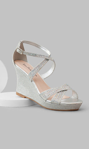 Your Party Shoes Paige Glitter Wedge Crystal Embellished Prom High Heel Strap