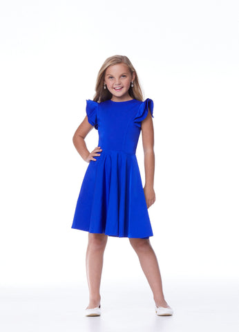Ashley Lauren 8042 Girls and Preteen's tea length pageant dress ruffle sleeves party gown with high neckline and short A line skirt Colors  Royal, Aqua   Sizes  4, 6, 8, 10, 12, 14, 16