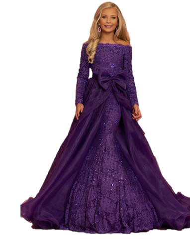 Sugar Kayne C126  by Johnathan Kayne is a Stunning Fitted Eyelash lace Mermaid Girls Pageant dress. Covered in Crystal Rhinestone Accents. Off the shoulder long lace sleeves. scallop lace edged hem. Detachable Organza Overskirt with large taught Bow. Convertible Preteen & Teen Pageant Gown. Formal wear Gown  Available Colors: Grape, Royal, White  Available Size: 2-16