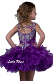 Little Rosie SR313 is a short sheer high neck girls cupcake Pageant Dress. Fully embellished crystal rhinestone bodice. Sheer high illusion neckline with cap sleeves. open cutout back. This style DOES NOT feature tassels in the back. Short Ruffle Layered cupcake skirt. Available Size: 4  Available Color: Hot Pink