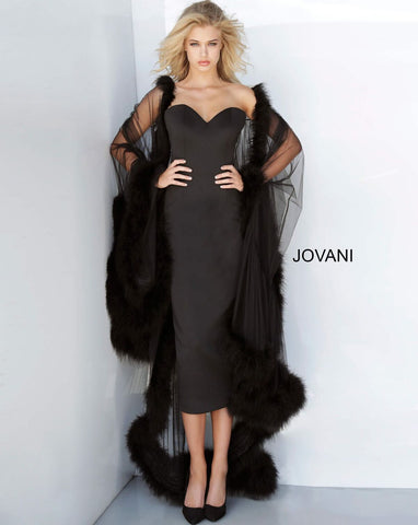 Jovani 02010 sweetheart neckline knee length skirt with fur lined cape