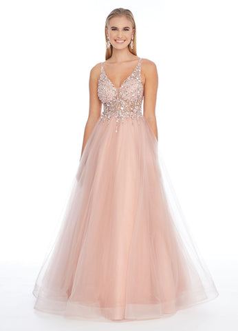 Ashley Lauren 1884 v neckline lace and tulle ball gown prom dress