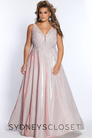 Sydney's Closet SC 7311 embellished bodice v neckline A line prom dress pageant gown evening dress shimmer long skirt Colors  Cotton Candy, Lagoon Blue  Sizes  14, 16, 18, 20, 22, 24, 26, 28, 30, 32, 34, 36, 38, 40