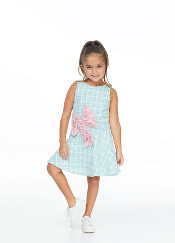 Ashley Lauren 8037 Girls sleeveless short tweed dress with bow details.  Great for fun fashion or your next party event.  Colors Aqua/Pink  Sizes  4, 6, 8, 10, 12, 14