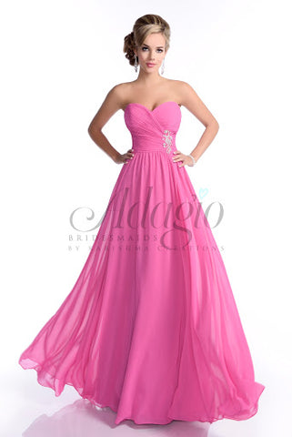 Adagio Bridesmaids by Karishma Creations BM 140 is a strapless sweetheart (Spaghetti straps included) long pink . prom dress evening gown. Featuring a ruched asymmetrical bodice to enhance you figure. Flowing chiffon skirt. Beading & Crystal Rhinestone accents adorn the side of the waist.  Color: Fuchsia  Size: 8