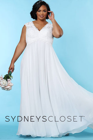 Sydney's Closet SC 5235 Renee Be a beautiful bride tying the knot at your beach wedding or any casual setting in this simple, but striking, plus size ivory laced chiffon wedding dress. Simple lines create a graceful Empire silhouette. Pretty lace V-Empire bodice is perfect for pictures. A soft chiffon floor-length skirt features an under layer of satin that adds comfort.  The back of this dress is just as beautiful as the front with the lace designed bodice. SC5235