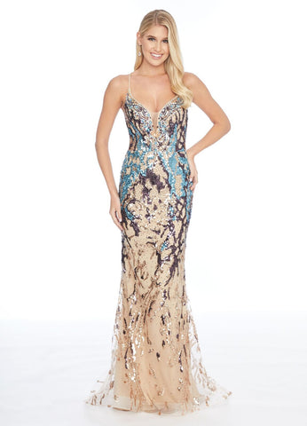 Ashley Lauren 1891 multi embellished mermaid prom dress