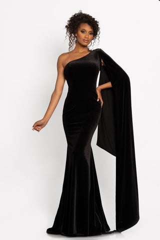 Johnathan Kayne 2294 This is a one shoulder stretch velvet evening pageant dress with an off the shoulder side cape that drapes to the floor.  The long velvet skirt flares at the bottom. Colors Black, Red  Sizes  00, 0, 2, 4, 6, 8, 10, 12, 14, 16, 18, 20
