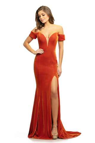 Johnathan Kayne 9227 size 12 Amber off the shoulder velvet mermaid prom dress with train