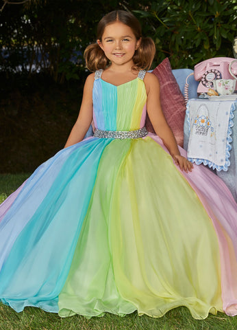 Ashley Lauren 8033 Girls and Preteen's long pageant dress multi pastel flowy chiffon ball gown with embellished waistline and straps and small train.  Colors  Multi  Sizes  2, 4, 6, 8, 10, 12, 14, 16