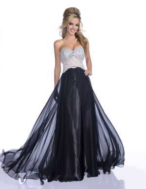 Envious Couture 16137 size 4 Black embellished bodice flowy prom dress evening gown