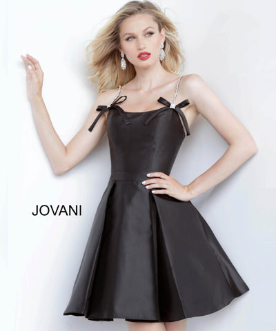 Jovani 00198 pleated mikado short homecoming dress with bows