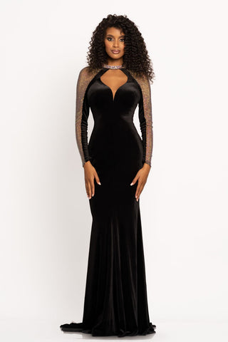 Johnathan Kayne 2212 This is a dramatic high neckline velvet fitted prom dress with a sweetheart neckline cutout design.  It has an embellished choker style collar neckline with embellished long sleeves, a cutout back and long flared skirt with a sweeping train.  Make a bold statement at your next pageant, prom or special event in the elegant evening gown.  Color Black  Sizes  00, 0, 2, 4, 6, 8, 10, 12, 14, 16
