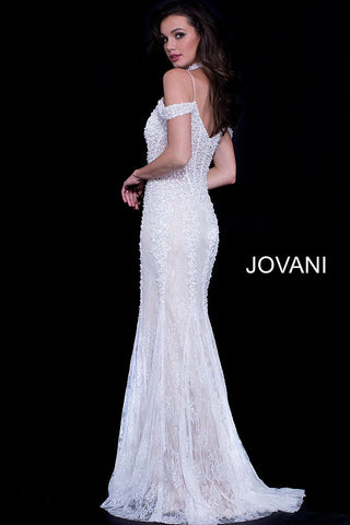 748f39796a54 ... Jovani 55251 off the shoulder embellished mermaid prom dress with  choker ...