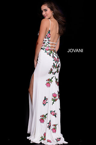 Black and White Embroidered Prom Dress