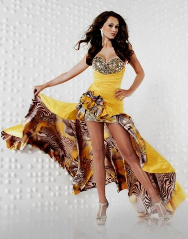 Riva R9456 Sunflower prom Dress High Low size 8 Yellow Satin Gown Print