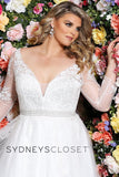 Sydney's Closet SC 5234 Cheryl Lynn Be a beautiful plus size bride in a floral lace embroidered informal wedding dress in simple, modern A-line design. Magnificent hand beaded belt accentuates your curves. Deep V-neck adds a modern design element. Lace appliques with clear sequins create just a hint of sparkle in the bodice, sleeves and tulle skirt. Designer Sydney's Closet Style SC5234 for full figure brides sizes 14 to 40.