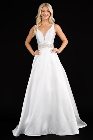 Nina Canacci 2297 plunging neckline A line wedding dress prom formal evening gown