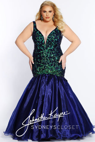 Johnathan Kayne for Sydney's Closet JK 2021 Hurricane This is an amazing long plus sized mermaid prom dress with a plunging v neckline with a corset back.  It is embellished sequin embroidery throughout past the hips with a full fit and flare mermaid shiny organza skirt that includes a sweeping train.  JK2101