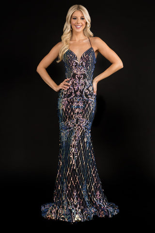 Nina Canacci 1517 long embellished mermaid prom dress backless corset v neckline small train evening gown Color:  Black Multi  Size:  0,2,4,6,8,10,12,