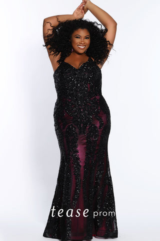 Tease Prom 2118 size 18 long lace fitted prom dress plus sized