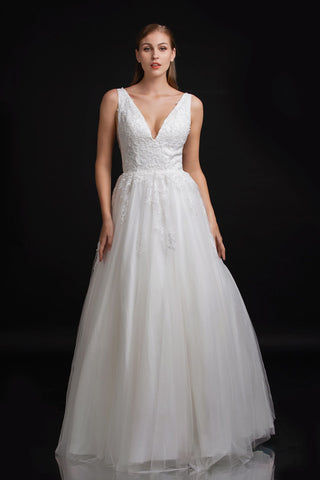 Nina Canacci B110 v neckline with wide straps lace bodice A line wedding dress bridal gown with sheer lace back and lace up corset Color Ivory  Sizes 4, 6, 8, 10, 12, 14, 16, 18