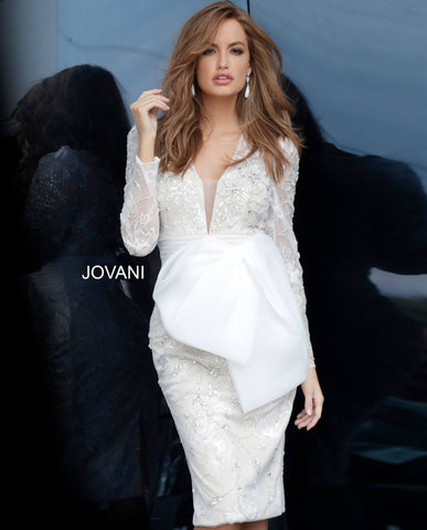 Jovani 2033 long sleeve lace short cocktail dress with bow detail