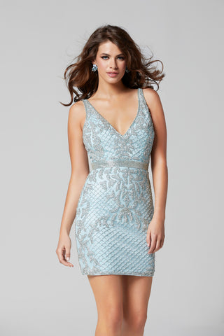 Primavera Couture 3312 V neckline short beaded homecoming dress