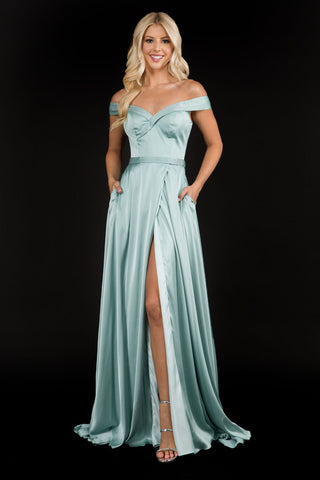 Nina Canacci 6550 This evening gown has off the shoulder straps with a lapel v neckline.  The satin A line prom dress has a high slit. An excellent choice for your next pageant gown with a flowy train. Colors  Black, Mauve, Peacock, Mint