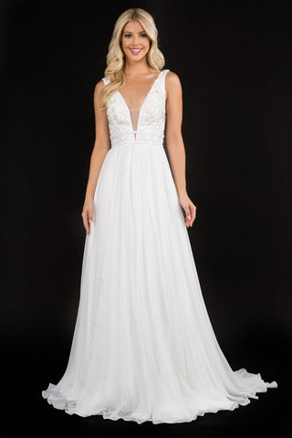 Nina Canacci 2205 lace plunging neckline long wedding dress with train. Flowy chiffon long skirt with train, backless.   Color Ivory  Sizes 0-12