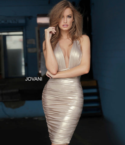 Jovani 1771 halter neckline short metallic jersey cocktail dress