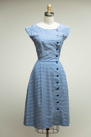 Nancy Dress in Blue White Stripe