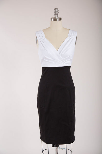 Cheryl Black and White Wiggle Dress - Simply Vintage  - 1