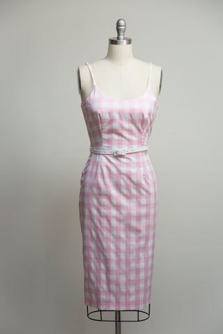 Priscilla Pink Gingham Pencil Dress