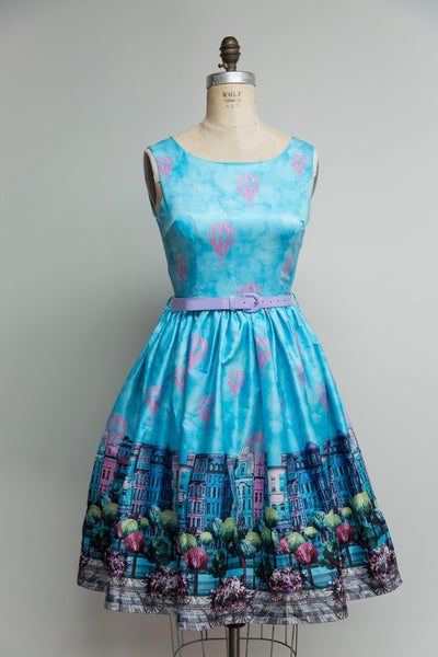 Annie Blue Parisian Border Print Dress