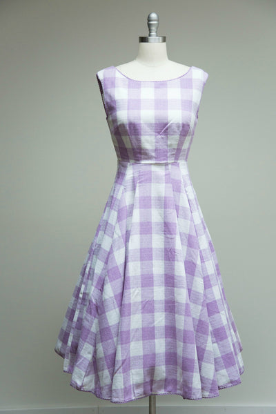 Pauline Gingham Dress White Purple