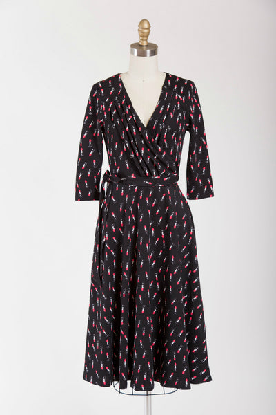Black & Red Lipstick Print Kelsie Wrap Dress - Simply Vintage  - 1