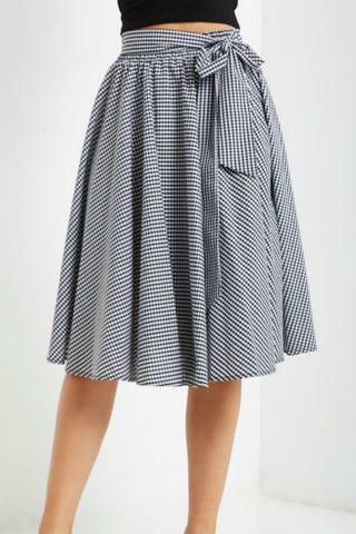 Circle Midi Skirt Black White Gingham