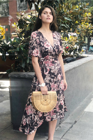 Melody Charcoal Floral Wrap Dress